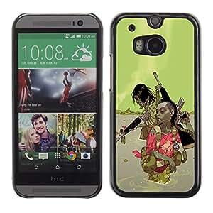 All Phone Most Case / Hard PC Metal piece Shell Slim Cover Protective Case Carcasa Funda Caso de protección para HTC One M8 Green Abstract Machine Gun War