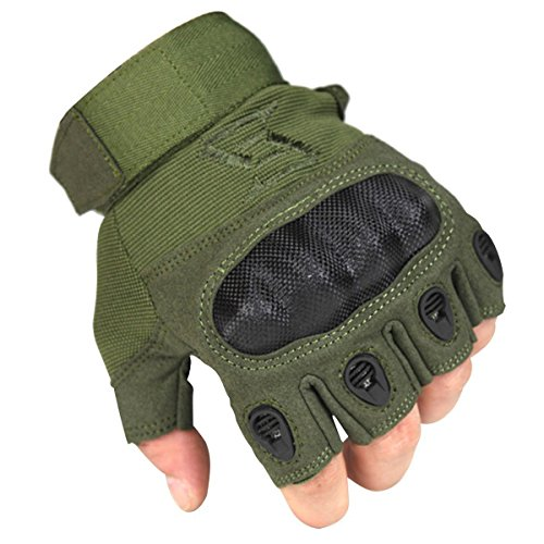 - FREE SOLDIER Outdoor Men Military Hard Knuckle Half Finger Glove Tactical Armor Gloves (Army Green Medium)