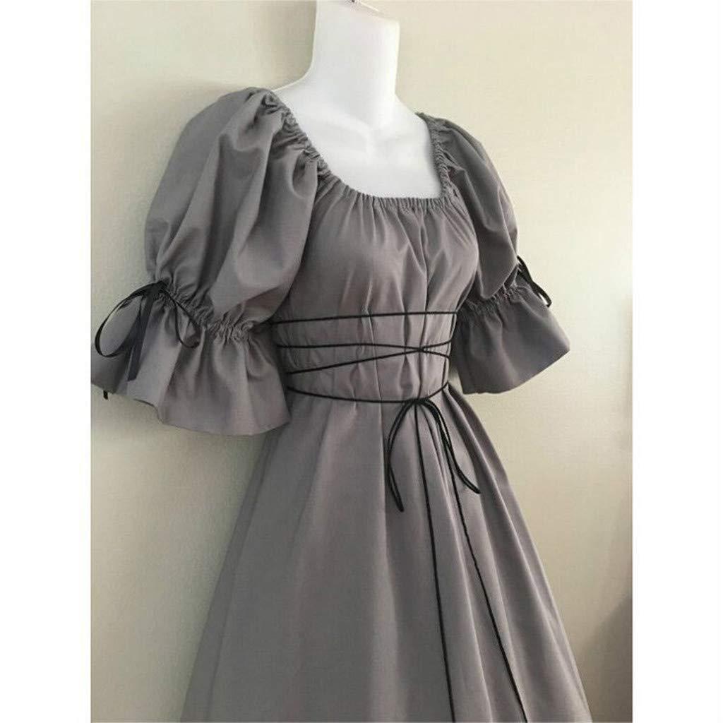 yoyorule Women Casual Top /& Dress Womens Vintage Short Petal Sleeve O-Neck Medieval Dress Cosplay Dress