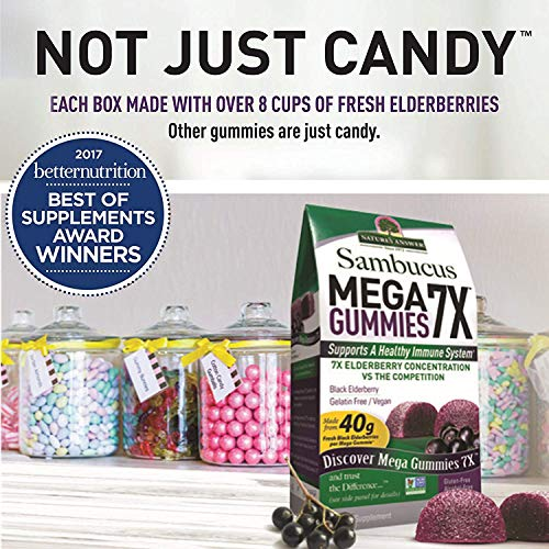 Nature s Answer Sambucus Mega Black Elderberry Gummies, 7X More Elderberry Concentration, 60 Count 2 Pack
