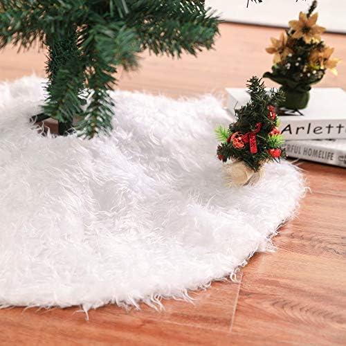 Frmarche Falda de árbol de Navidad Cubiertas de felpa blanca de ...