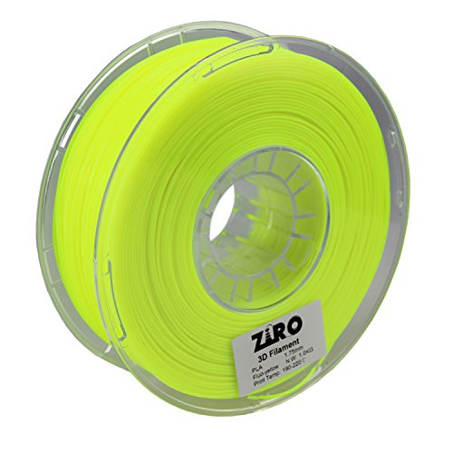 ZIRO 3D Printer Filament PLA 1.75 1KG(2.2lbs), Dimensional Accuracy +/- 0.05mm, Fluo yellow