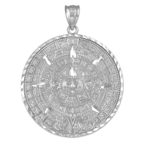 (925 Sterling Silver Aztec Charm Mayan Calendar Pendant (40.64 Millimeters))
