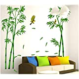 Green Bamboo And Birds Removable Wall Paper For Home Decor, Waterproof Wallpaper For Living Room Baby Kids Girls Bedroom Decorative, Diy Wall Sticker, Wall Decals
