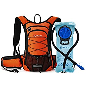 Miracol Hydration Backpack with 2L Water Bladder, Thermal Insulation Pack Keeps Liquid Cool up to 4 Hours, Prefect Outdoor Gear for Skiing, Running, Hiking, Cycling (Orange)