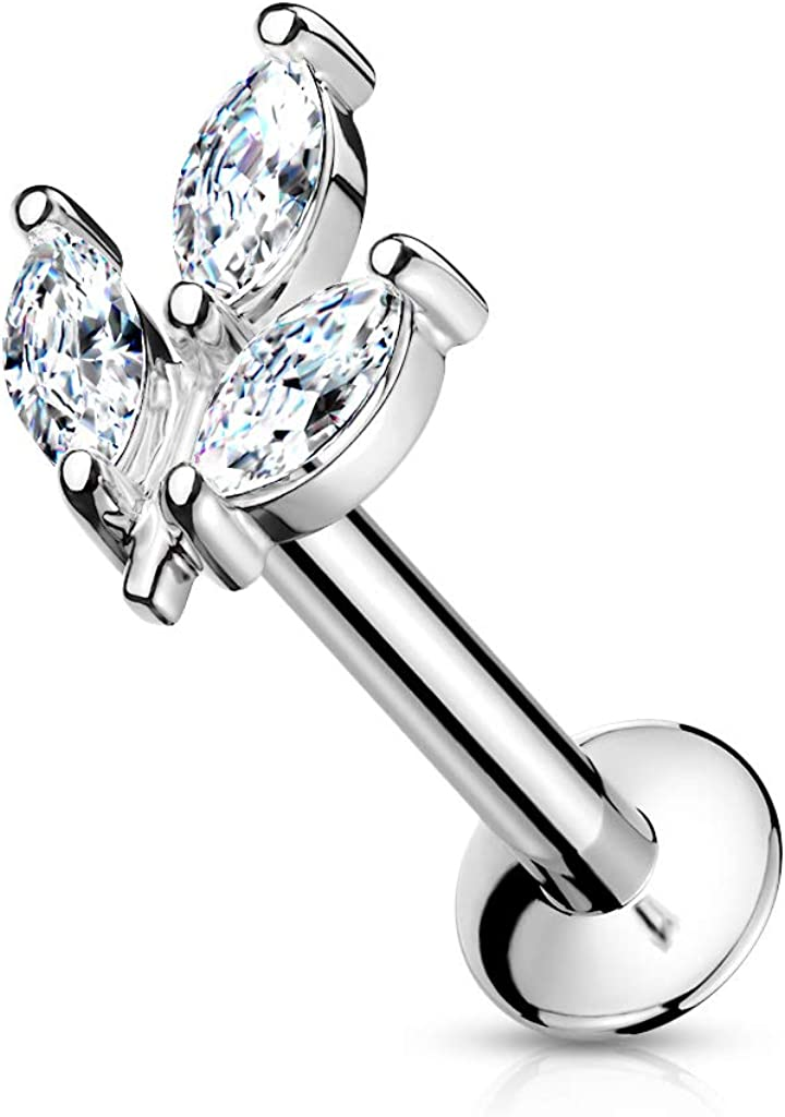 Push In Labret with CZ Prong Set Threadless Top and Flat Back 20ga 18ga