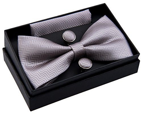 Zig Zag Striped Textured Woven Pre-tied Bow Tie (5') w/ Pocket Square & Cufflinks Gift Set