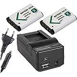 3in1Set Per La Sony Action-Cam HDR AS100/AS100V/AS100VR/as100vb und–-- 2x batteria (1000mAh) + 4in1caricatore (ecc. con USB/Micro-USB e da auto/auto)