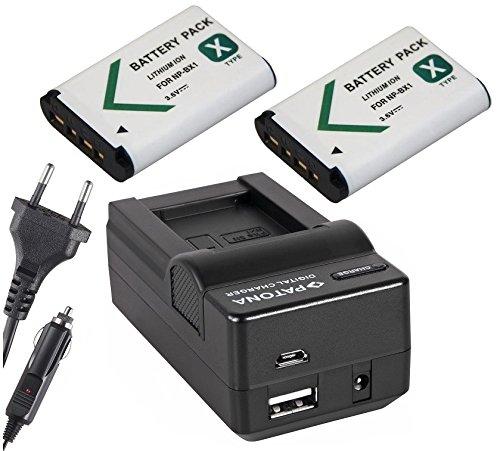 4in1Set 3-in-1per Sony FDR x3000r/X30004K Actioncam–-- 2batterie per Sony NP-BX1(1000mAh) + caricatore 4in 1(con USB/Micro-USB e da auto/auto) con PATONA Displaypad pabuTEL-Bundle