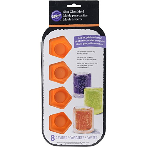 (Wilton 2105-4633 8 Cavity Spiderweb Silicone Shot Mold, Orange)