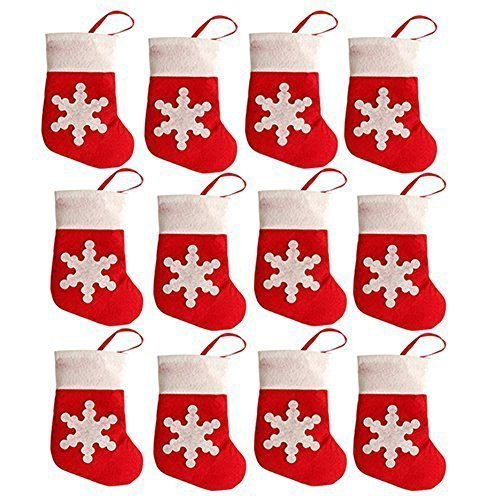 San Tokra 12Pcs Christmas Sock Decorations Snowflake Tableware Holders Candy Pouch Bag -