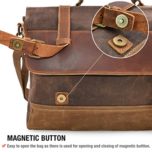 NEWHEY Mens Messenger Bag Waterproof Canvas Leather Computer Laptop Bag  15.6 Inch Briefcase Case Vintage Retro Waxed Canvas Genuine Leather Large  Satchel ... 1bcefd0bffc2c