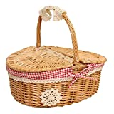 Hand Made Wicker Basket Wicker Camping Picnic Basket Shopping Storage Hamper Wicker Picnic Basket Storage with Lid and Handle