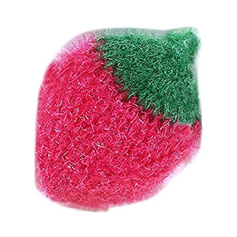 mk. park - Cute Strawberry Scouring Pad Kitchen Cleaning Tool Absorbent Towel Dish Cloth (Pink) - Apple Coral Handle
