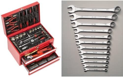 Mannesmann - M29066 - Caja de herramientas equipada con 155 piezas + M 130-12DIN - Juego de llaves combinadas de boca y estrella, 12 piezas, 6-22 mm, CV, GS: Amazon.es: Bricolaje y herramientas