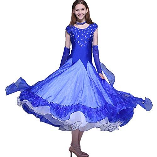 Blue Per L Swing Wqwlf Grande Sala Outfit Competizione Da Maniche Senza Colori Più Ballo m Donne Abiti Prestazione qXwBvrXpaZ