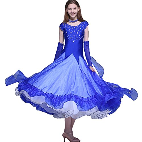 Competizione Ballo Senza Sala Da Più Abiti Maniche Colori Donne Per Swing Prestazione L m Blue Wqwlf Outfit Grande PtqIx0SI