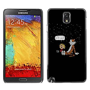 Caucho caso de Shell duro de la cubierta de accesorios de protección BY RAYDREAMMM - Samsung Note 3 N9000 - Calvin Hobbs