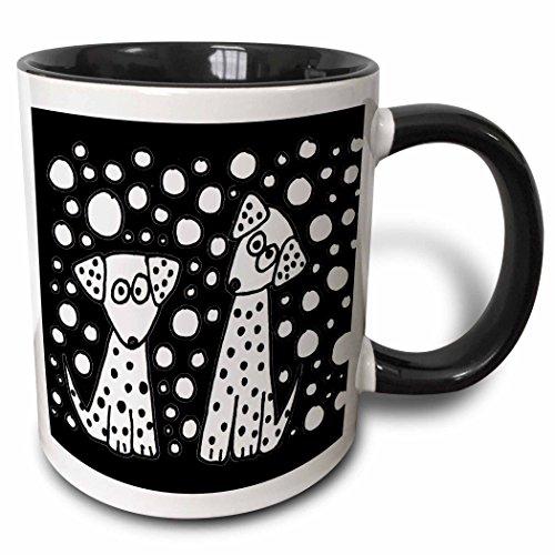 Black And White Spotted Dogs - 3dRose All Smiles Art Abstract - Funny Black and White Spotted Dogs Abstract Original - 15oz Two-Tone Black Mug (mug_201796_9)