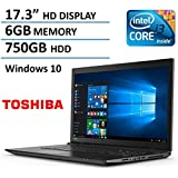 Toshiba Satellite 17.3-Inch Laptop (Intel Core i3 Processor, 6GB Ram, 750GB Hard Drive, DVD Burner, HDMI, Bluetooth, WiFi, Windows 10)