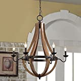 Wine Barrel Rustic Chandelier Centerpiece For Foyers And Dining Rooms With High Ceilings | Modern Farmhouse Light Fixture In Oil Rubbed Bronze Finish | Round Wood Pendant Lamp Creates Ample Lighting