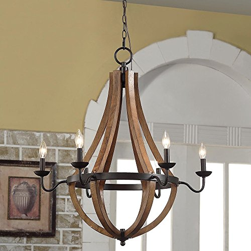 Wine Barrel Rustic Chandelier Centerpiece For Foyers And Dining Rooms With High Ceilings | Modern Farmhouse Light Fixture In Oil Rubbed Bronze Finish | Round Wood Pendant Lamp Creates Ample Lighting by MFR Light Fixtures