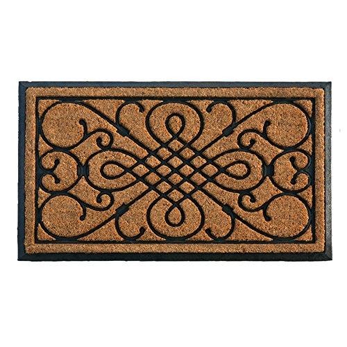 Gate Door Mat - Rectangular Door Mat Black Rubber Natural Woven Coir Fiber Victorian Gate Design 24