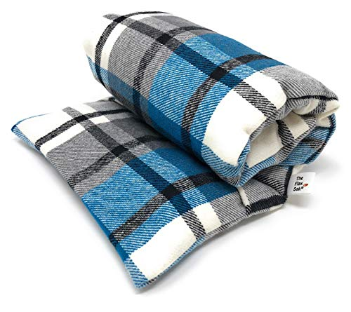Choose Unscented or Lavender Microwavable Heating Pad by Flax Sak. Hot/Cold Pack with Removable/Washable Cover. Aqua | Grey Plaid | FS ()