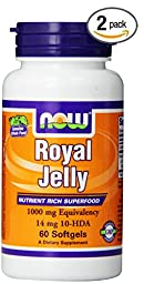 Now Foods Royal Jelly 1000mg, 60 Softgels (2 bottles of 60)