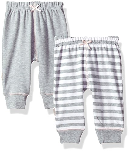 Kushies Baby Girls Classics 2-Pack Pants, Grey, 1m