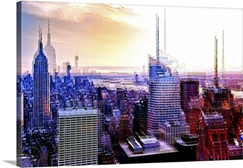 "Canvas On Demand Philippe Hugonnard Premium Thick-Wrap Canvas Wall Art Print, 24"" x 16"", entitled 'Manhattan at Sunset - Urban Vibrations Series'"