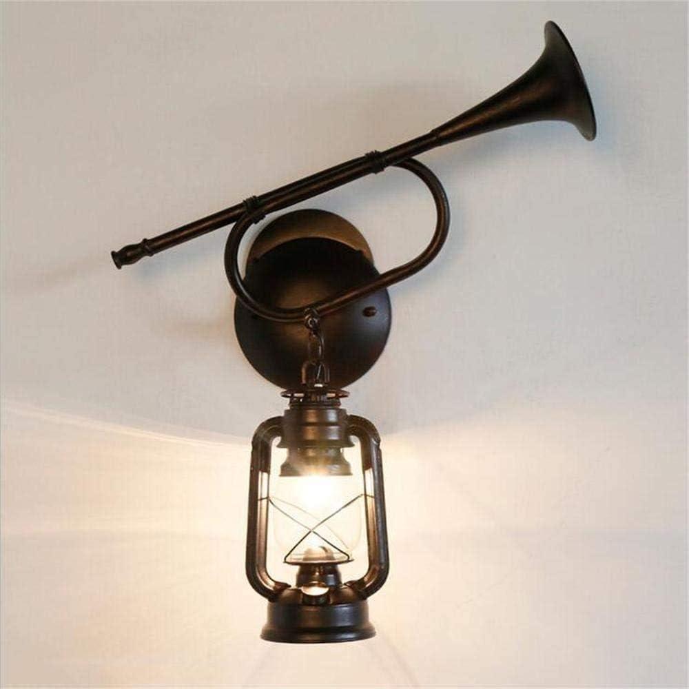 Rekaf Lámpara de pared de vidrio retro Personalidad creativa Lámpara de hierro Antiguo Classic Caballo Lámpara Keroseno Lámpara Retro Vidrio Lámparas de pared Altavoz Luces de pared Antigua Linterna C