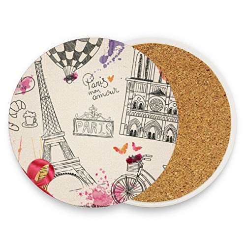 (Ceramic Coaster Set of 2 Absorbent Coaster with Protective Cork Base Hand Drawn Parisian Coasters for Drinks Coffee Mug Glass Cup Place Mats Home Decor Style)