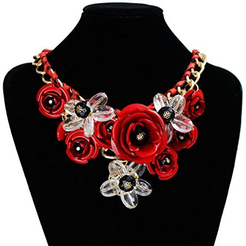 DZT1968 Women Mixed Style Chain Crystal Colorful Flower Luxury Weave Necklace (Red) (Black Red Crystal)