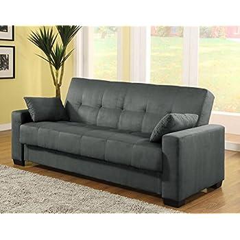 pearington mia microfiber sofa sleeper bed u0026 lounger with storage grey