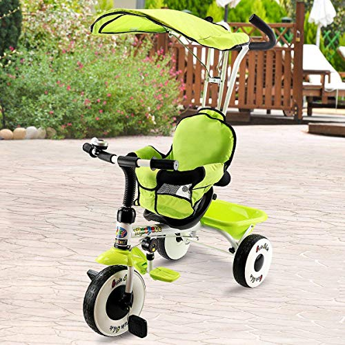 Costzon 4-in-1 Kids Steer Tricycle Stroller Bike w/Canopy Basket (Single Tricycle, -