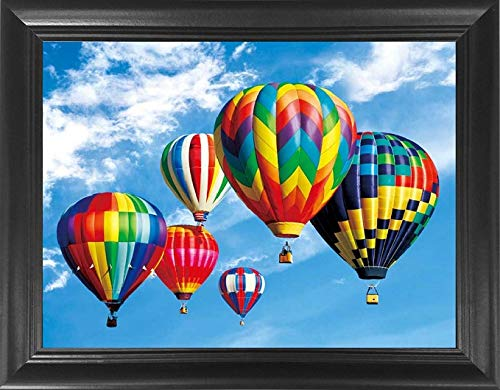 "Hot Air Balloons 3D Poster Wall Art Framed – 18.5x14.5"" – Unbelievable Life Like 3D Lenticular Posters, 3D Print, Cool Unique Vintage Voyage Modern Décor Pictures"