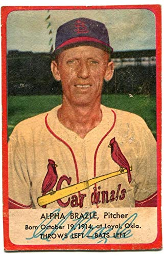 Alpha Brazle 1953 Hunter Wieners Card Mlb Autographed Baseball
