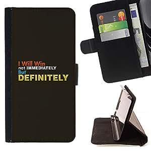 Momo Phone Case / Flip Funda de Cuero Case Cover - Gris Oro Inspiring texto Win Definitivamente - Huawei Ascend P8 (Not for P8 Lite)