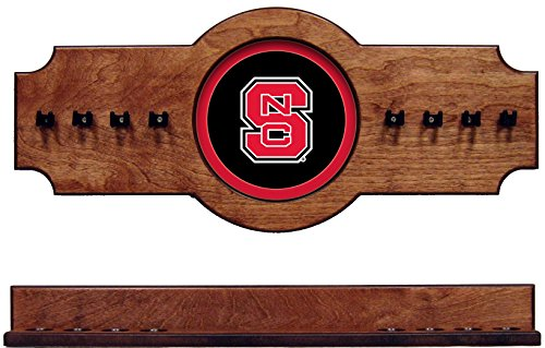 (NCAA North Carolina State Wolfpack NCSCRR100-P 2 pc Hanging Wall Pool Cue Stick Holder Rack -)