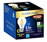 ClearlyLED Filament LED Light Bulb, 6.5w 810 lumens standard A19 design, 2700k light color, shatter resistant coating, long life and dimmable, Clear, 4-Pack