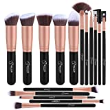 BESTOPE Makeup Brushes 16PCs Makeup Brush Set Premium Synthetic Foundation Brush Blending Face Powder Blush Concealers Eye Shadows Make Up Brushes Kit (Rose Golden)