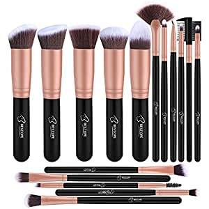 BESTOPE Makeup Brushes 16PCs Makeup Brush Set Premium Synthetic Foundation Brush Blending Face Powder Blush Concealers Eye Shadows Make Up Brushes Kit (Rose Golden)