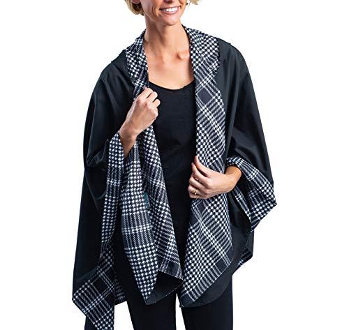 RainCaper Womens Raincoat - Reversible Rainproof Hooded Cape - Soft & Silky (Black & B&W Houndstooth Plaid)