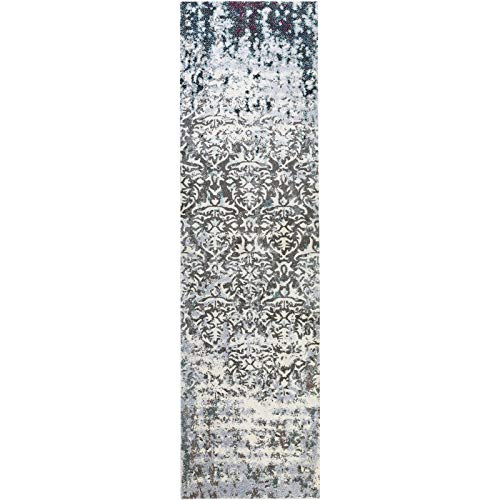 Decomall Vienna Modern Distressed Vintage Watercolor Abstract Bohemian Persian Shabby Chic Runner Rug for Living Room, Bedroom, 2.5x9 ft, Blue