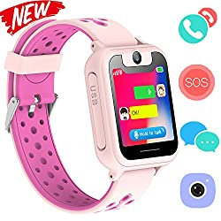 Kid Smartwatch Gps Tracker - Wrist Phone Game Watch Sos Anti-lost Alarm Remote Monitor With Sim Card Touch Screen Birthday Gifts For Children Boys Girls Compatible With Iphone Android (03 S6 Pink)