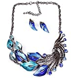 Sunne Peacock Tail Jewelry Calla Flower Fashion Chain Necklace Set(Blue)