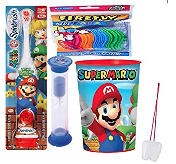 Super Mario Brothers 3pcs Bright Smile Oral Hygiene Bundle! Turbo Spinbrush Toothbrush, Brushing Timer