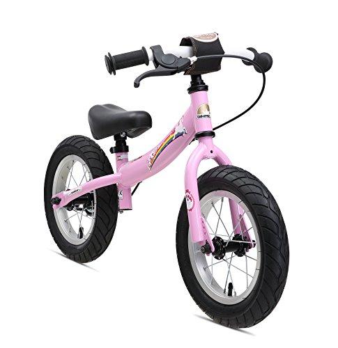 BIKESTAR Bicicleta sin Pedales para niños y niñas | Bici 12 Pulgadas a Partir de 3-4 años con Freno | 12″ Edición Sport Rosa Unicornio