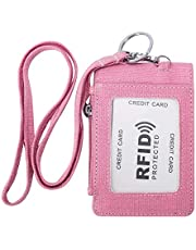Zip ID Case Card Holder, Small Card and Coins Purse with Key Ring and Lanyard for Women
